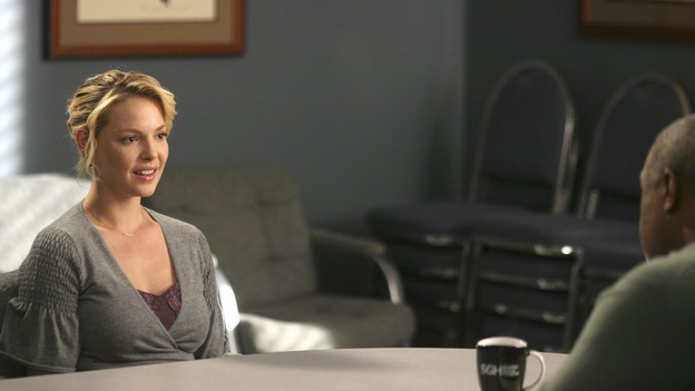 "GREY'S ANATOMY - In the first hour of part two of the season finale of ABC's ""Grey's Anatomy"" -- ""Deterioration of the Fight or Flight Response"" -- Izzie and George attend to Denny as the pressure increases to find him a new heart, Cristina suddenly finds herself in charge of an ER, and Derek grapples with the realization that the life of a friend is in his hands. In the second hour, ""Losing My Religion,"" Richard goes into interrogation mode about a patient's condition, Callie confronts George about his feelings for her, and Meredith and Derek meet about Doc. Part two of the season finale of ""Grey's Anatomy"" airs MONDAY, MAY 15 (9:00-11:00 p.m., ET) on the ABC Television Network. (ABC/SCOTT GARFIELD)KATHERINE HEIGL, JAMES PICKENS, JR."