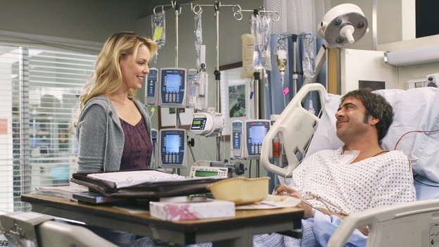 "GREY'S ANATOMY - In the first hour of part two of the season finale of ABC's ""Grey's Anatomy"" -- ""Deterioration of the Fight or Flight Response"" -- Izzie and George attend to Denny as the pressure increases to find him a new heart, Cristina suddenly finds herself in charge of an ER, and Derek grapples with the realization that the life of a friend is in his hands. In the second hour, ""Losing My Religion,"" Richard goes into interrogation mode about a patient's condition, Callie confronts George about his feelings for her, and Meredith and Derek meet about Doc. Part two of the season finale of ""Grey's Anatomy"" airs MONDAY, MAY 15 (9:00-11:00 p.m., ET) on the ABC Television Network. (ABC/SCOTT GARFIELD) KATHERINE HEIGL, JEFFREY DEAN MORGAN"