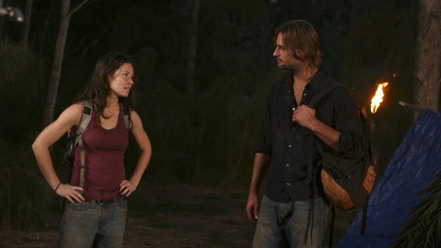 "LOST - ""Outlaws"" - Kate and Sawyer divulge dark secrets to each other while tracking a renegade boar that Sawyer swears is purposely harassing him. Meanwhile, Hurley and Sayid worry that Charlie is losing it after his brush with death, and a shocking, prior connection between Sawyer and Jack is revealed. Robert Patrick (""Terminator 2: Judgment Day,"" ""The X-Files"") guest stars, on ""Lost,"" WEDNESDAY, FEBRUARY 16 (8:00-9:02 p.m., ET), on the ABC Television Network. (ABC/MARIO PEREZ) EVANGELINE LILLY, JOSH HOLLOWAY"