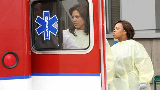 "GREY'S ANATOMY - ""Flight"" - Faced with a life threatening situation, the doctors must fight to stay alive while trying to save the lives of their peers; Bailey and Ben make a decision regarding their relationship; and Teddy is presented with a tempting offer. Meanwhile, Richard plans a special dinner for the residents, on the Season Finale of ""Grey's Anatomy,"" THURSDAY, MAY 17 (9:00-10:01 p.m., ET) on the ABC Television Network. (ABC/DANNY FELD)SARA RAMIREZ, CHANDRA WILSON"