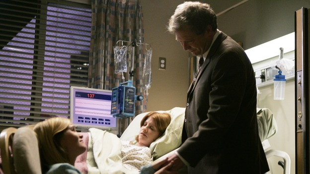 "GREY'S ANATOMY - ""Name of the Game"" - George begins to overstay his welcome at Burke's apartment; Meredith learns a secret about her father; Bailey worries her colleagues will not treat her the same now that she's a mother; and Alex gets a lesson in bedside manners, on ""Grey's Anatomy,"" SUNDAY, APRIL 2 (10:00-11:00 p.m., ET) on the ABC Television Network. (ABC/PETER ""HOPPER"" STONE) MARE WINNINGHAM, MANDY SIEGFRIED, JEFF PERRY"