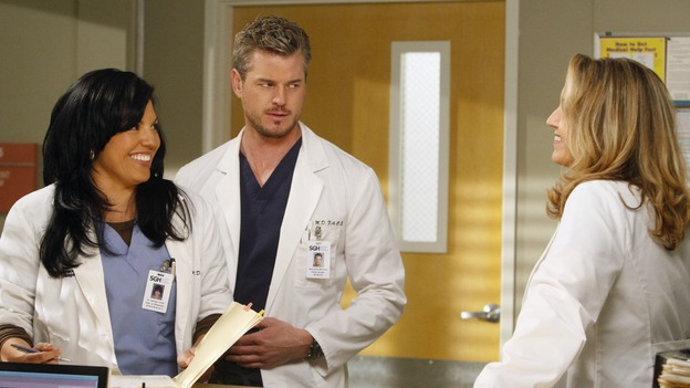 "GREY'S ANATOMY - ""The Becoming"" - The nurses' objections to McSteamy's trysts lead to the instating of a new ""date and tell"" policy. Meanwhile news of Burke's latest career achievements force Cristina to face her feelings for her ex, Meredith and Derek admit a veteran soldier into their clinical trial, and Callie turns to Sloan in her time of need, on ""Grey's Anatomy,"" THURSDAY, MAY 8 (9:00-10:02 p.m., ET) on the ABC Television Network.  (ABC/VIVIAN ZINK) SARA RAMIREZ, ERIC DANE, BROOKE SMITH"