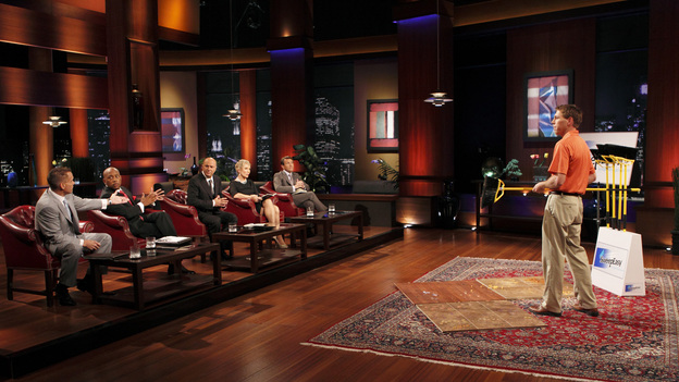 "SHARK TANK - ""Episode 207"" -- A fiery entrepreneur from Washington, DC comes to the Shark Tank with her line of luxury maternity gowns; a Southern belle from South Carolina believes her homemade cakes will be the best the Sharks have ever tasted; and a couple from Minnesota believe their business idea of a cooler fitting inside a golf bag is a sure-fire way to save money on the golf course. Also, the Sharks fight over a product invented by a stay-at-home dad inspired by his long days cleaning up after his kids, and there will be a follow-up on the duo behind Grease Monkey Wipes -- whose impassioned plea in Season 1 landed them a deal with Robert and Barbara -- on ""Shark Tank,"" FRIDAY, APRIL 29 (8:00-9:00 p.m., ET). (ABC/CRAIG SJODIN)KEVIN HARRINGTON, DAYMOND JOHN, KEVIN O'LEARY, BARBARA CORCORAN, ROBERT HERJAVEC, SHANE PANNELL (SWEEPEASY)"