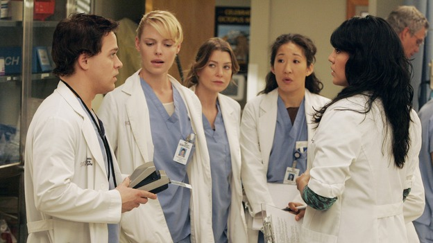 GREY'S ANATOMY - &quot;Walk on Water&quot; - Beginning February 8, Grey's Anatomy enters a three-episode story arc that will challenge the interns of Seattle Grace -- and &quot;Grey's&quot; fans as well -- like never before. &quot;Walk on Water&quot; airs THURSDAY, FEBRUARY 8 (9:00-10:00 p.m., ET) on the ABC Television Network. Elizabeth Reaser (Independent Spirit Award winner for &quot;Sweet Land&quot;) guest stars as a patient over multiple episodes. (ABC/VIVIAN ZINK)T.R. KNIGHT, KATHERINE HEIGL, ELLEN POMPEO, SANDRA OH, SARA RAMIREZ