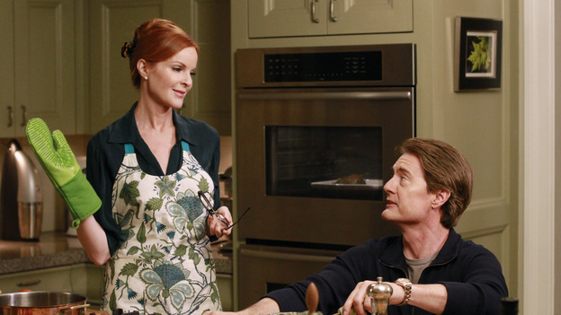 "DESPERATE HOUSEWIVES - ""Get Out of My Life"" - Susan discovers the identity of the father of Julie's baby; Orson makes it his duty to nurse Bree back to health; when Mrs. McCluskey throws Roy out of the house, Gaby takes him in and is reluctant to help get them back together when he proves to be an invaluable disciplinarian to her kids; after getting used to her alone time, Lynette is furious when Porter and Preston are evicted from their apartment and try to move back home; and Mike informs Renee of Ben's dire circumstances with a loan shark, on ""Desperate Housewives,"" SUNDAY, FEBRUARY 19 (9:00-10:01 p.m., ET) on the ABC Television Network. (ABC/RON TOM)MARCIA CROSS, KYLE MACLACHLAN"