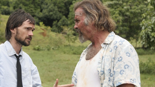 "LOST - ""The Economist"" - Locke's hostage may be the key to getting off the island, so Sayid and Kate go in search of their fellow castaway in an attempt to negotiate a peaceful deal, on ""Lost,"" THURSDAY, FEBRUARY 14 (9:00-10:02 p.m., ET) on the ABC Television Network. (ABC/MARIO PEREZ)JEREMY DAVIES, JEFF FAHEY"