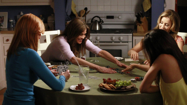 DESPERATE HOUSEWIVES - &quot;Finishing the Hat&quot; - All good things eventually come to an end, and in the two hour finale, &quot;Give Me the Blame&quot; / &quot;Finishing the Hat,&quot; Trip (Scott Bakula) begs Bree to tell him what really happened the night of Alejandro's murder as her trial begins to go south and it looks like she's about to be convicted; Gaby tries to come up with a solution that will take the burden off of Bree; Susan tries to keep the sale of her house private until she's had a chance to break the news to the ladies; Katherine Mayfair (Dana Delany) returns to Wisteria Lane and offers Lynette an intriguing job opportunity - which could end her chances of reconciling with Tom; the women all agree to take care of Mrs. McCluskey when they discover that she wants to die with dignity at home; Susan finds herself at wits end when Julie goes into labor at the most inopportune time; and Renee is shocked to discover that, as their wedding nears, Ben has been arrested and thrown in jail. &quot;Desperate Housewives&quot; ends its successful eight-season run on the ABC Television Network with a splashy two-hour finale event on SUNDAY, MAY 13 (9:00-11:00 p.m., ET). (ABC/RON TOM)MARCIA CROSS, TERI HATCHER, EVA LONGORIA, FELICITY HUFFMAN