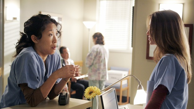 "GREY'S ANATOMY - ""I Am a Tree"" - Cristina meets Burke's parents -- and in the most awkward of circumstances -- the interns campaign for Izzie's reinstatement to the surgical intern program, Addison takes a break from her hospital duties, and a surgical patient lives what may be her last day to the fullest, on ""Grey's Anatomy,"" THURSDAY, SEPTEMBER 28 (9:00-10:01 p.m., ET) on the ABC Television Network. (ABC/VIVIAN ZINK)SANDRA OH, ELLEN POMPEO"