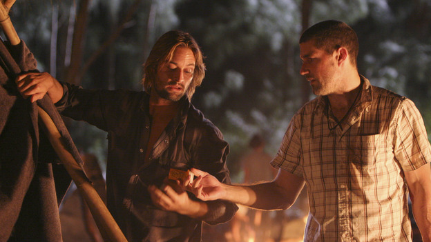 LOST - &quot;Whatever the Case May Be&quot; - Jack, Kate and Sawyer fight over possession of a newly discovered locked metal briefcase which might contain insights into Kate's mysterious past. Meanwhile, Sayid asks a reluctant Shannon to translate notes he took from the French woman, a rising tide threatens to engulf the fuselage and the entire beach encampment, and Rose and a grieving Charlie tentatively bond over Claire's baffling disappearance, on &quot;Lost,&quot; WEDNESDAY, JANUARY 5 (8:00-9:00 p.m., ET), on the ABC Television Network.  (ABC/MARIO PEREZ) JOSH HOLLOWAY, MATTHEW FOX