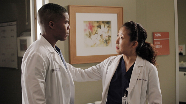 "GREY'S ANATOMY - ""I Was Made for Lovin' You"" - Cristina and Owen continue to figure out their relationship amidst the pending lawsuit; and Bailey argues with Ben over plans for their upcoming nuptials. Meanwhile, Callie recruits Jackson to help find a solution to Derek's hand, but he is preoccupied by a shocking situation with April, on ""Grey's Anatomy,"" THURSDAY, NOVEMBER 29 (9:00-10:02 p.m., ET) on the ABC Television Network. (ABC/RICHARD CARTWRIGHT)GAIUS CHARLES, SANDRA OH"