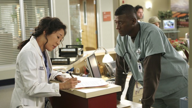 "GREY'S ANATOMY - ""Love/Addiction"" - The residents and interns treat the victims of a massive explosion at an apartment building, while Alex investigates the cause of the accident, Mama Burke returns to collect her son's things just as Cristina trades her wedding presents in exchange for surgeries, Lexie tries to have a heart-to-heart with an unwilling Meredith, and while Callie is overwhelmed with her duties as Chief Resident, Bailey searches for an outlet for her pent-up leadership skills, on ""Grey's Anatomy,"" THURSDAY, OCTOBER 4 (9:00-10:01 p.m., ET) on the ABC Television Network. (ABC/MICHAEL DESMOND)SANDRA OH, MOE IRVIN"