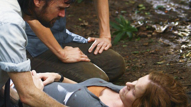 "LOST -  ""This Place is Death"" - Faraday tend to Charlotte, who is growing weaker from the affects of the island's shifts through time, on ""Lost,"" WEDNESDAY, FEBRUARY 11 (9:00-10:02 p.m., ET) on the ABC Television Network.  (ABC/MARIO PEREZ) JEREMY DAVIES, REBECCA MADER"
