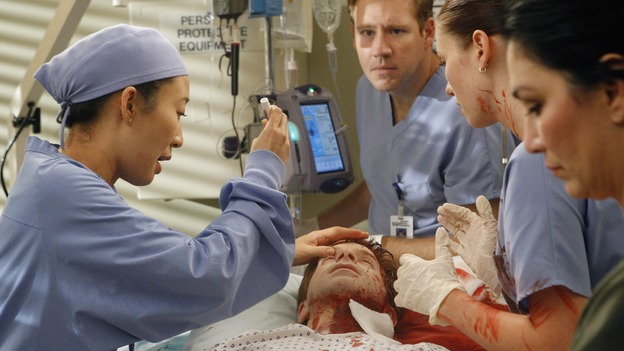 "GREY'S ANATOMY - ""Crash Into Me, -- Part Two"" - In the stunning conclusion of a two-part episode, Meredith furiously works to save the life of a paramedic trapped inside an ambulance, as her sister, Lexie, holds the life of a patient in her hands; Derek must rely on the help of a nurse to save a patient's life, as Bailey struggles to balance her personal life with her work, on ""Grey's Anatomy,"" THURSDAY, DECEMBER 6 (9:00-10:02 p.m., ET) on the ABC Television Network.  (ABC/VIVIAN ZINK)SANDRA OH, SETH GREEN, CHYLER LEIGH"