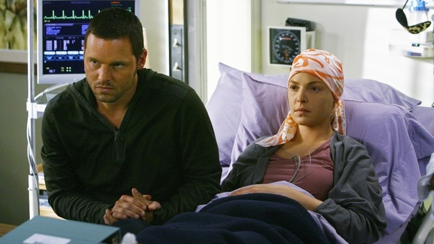 "GREY'S ANATOMY - ""Here's to Future Days"" - Newlywed doctors Alex Karev and Izzie Stevens listen to treatment options for Izzie's cancer, on ""Grey's Anatomy,"" THURSDAY, MAY 14 (9:00-11:00 p.m., ET) on the ABC Television Network. JUSTIN CHAMBERS, KATHERINE HEIGL"
