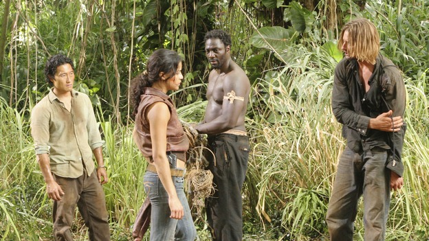 "LOST - ""Everybody Hates Hugo"" - Disturbing memories from Hurley's past cause him to struggle with a task he's assigned inside the hatch. Meanwhile Sawyer, Michael and Jin discover the identities of their captors, and Claire uncovers a shocking piece of information about the fate of the raft, on ""Lost,"" WEDNESDAY, OCTOBER 12 (9:00-10:00 p.m., ET), on the ABC Television Network. (ABC/MARIO PEREZ) DANIEL DAE KIM, MICHELLE RODRIGUEZ, ADEWALE AKINNUOYE-AGBAJE, JOSH HOLLOWAY"