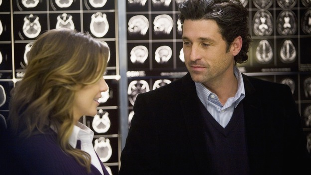 GREY'S ANATOMY - &quot;Elevator Love Letter&quot; - Derek proposes to Meredith, on &quot;Grey's Anatomy,&quot; THURSDAY, MARCH 26 (9:00-10:02 p.m., ET) on the ABC Television Network. (ABC/RANDY HOLMES) ELLEN POMPEO, PATRICK DEMPSEY