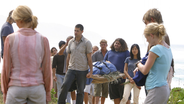 "LOST - ""The Greater Good"" - After burying one of their own, tempers flare as the castaways' suspicions of each other grow, on ""Lost,"" THURSDAY, MAY 4 on the ABC Television Network. (ABC/MARIO PEREZ) DOMINIC MONAGHAN MAGGIE GRACE, MATTHEW FOX, JORGE GARCIA, YUNJIN KIM, EMILIE DE RAVIN, DOMINIC MONAGHAN"