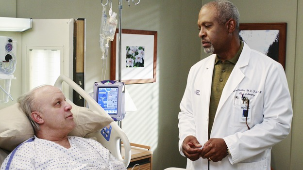 GREY'S ANATOMY - &quot;An Honest Mistake&quot; - The Chief consults with a patient following one of his senior physicians' medical errors, on &quot;Grey's Anatomy,&quot; THURSDAY, FEBRUARY 19 (9:00-10:02 p.m., ET) on the ABC Television Network. (ABC/RON TOM) LOUIS GIAMBALVO, JAMES PICKENS JR.