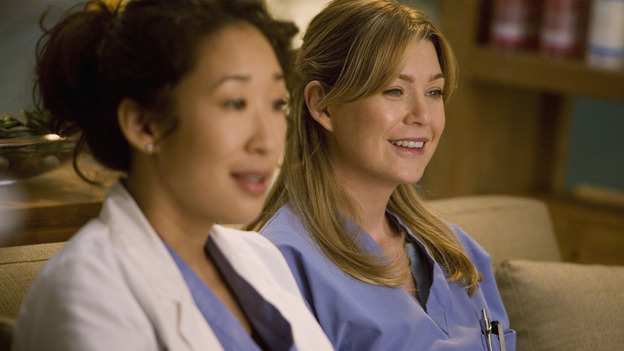 "GREY'S ANATOMY - ""Brave New World"" - Meredith and Cristina discover the wonderful world of Dermatology, on ""Grey's Anatomy,"" THURSDAY, OCTOBER 16 (9:00-10:01 p.m., ET) on the ABC Television Network. (ABC/RANDY HOLMES) SANDRA OH, ELLEN POMPEO"