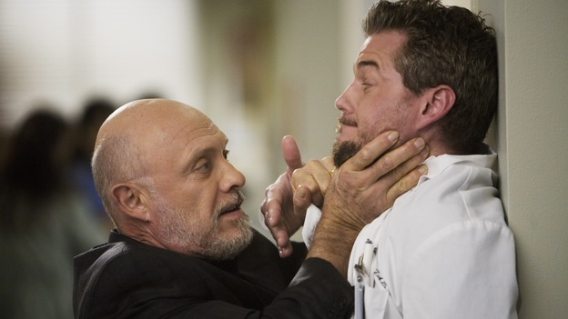 "GREY'S ANATOMY - ""Sweet Surrender"" - Mr. Torres threatens Mark, on ""Grey's Anatomy,"" THURSDAY, APRIL 23 (9:00-10:02 p.m., ET) on the ABC Television Network. (ABC/RANDY HOLMES) HECTOR ELIZONDO, ERIC DANE"