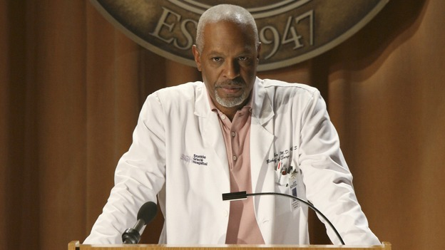 "GREY'S ANATOMY - ""Here Comes the Flood"" - A plumbing leak becomes a deluge and wreaks havoc at Seattle Grace, as the Chief attempts to implement new teaching policies and George tries to retake his residency exam; meanwhile Derek hopes to move the roommates out of Meredith's house, to their surprise, on ""Grey's Anatomy,"" THURSDAY, OCTOBER 9 (9:00-10:01 p.m., ET) on the ABC Television Network. (ABC/DANNY FELD)JAMES PICKENS JR."