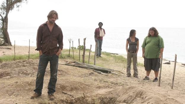 LOST -- &quot;Three Minutes&quot; - A determined Michael convinces Jack and several castaways to help him rescue Walt from &quot;The Others.&quot; Meanwhile, Charlie struggles with Eko's decision to discontinue building the church, on &quot;Lost,&quot; WEDNESDAY, MAY 17 (9:00-10:01 p.m., ET), on the ABC Television Network. (ABC/MARIO PEREZ)JOSH HOLLOWAY, HAROLD PERRINEAU, EVANGELINE LILY, JORGE GARCIA