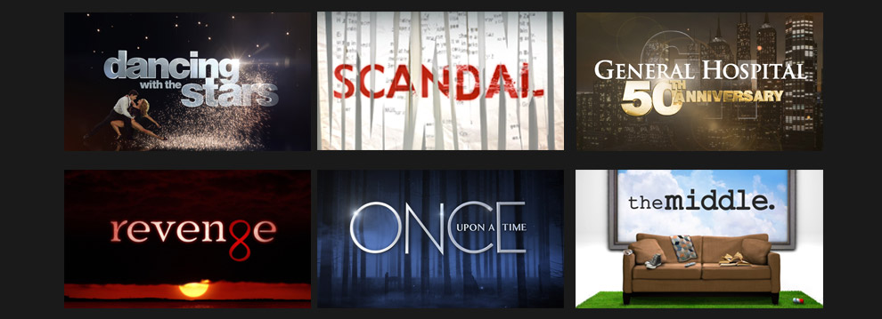 The Latest full-length episodes of your favorite shows ON DEMAND**, including Dancing with the Stars, Scandal, General Hospital, Revenge, Once Upon a Time and Grey's Anatomy
